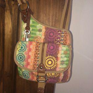 FOSSIL Crossbody Back Multicolor Canvas Purse Bag